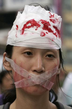 Image: Protester at Hong Kong protest ahead of Tiananmen Square anniversay