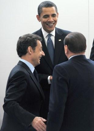 Image: Nicholas Sarkozy, Barack Obama, Silvio Berlusconi