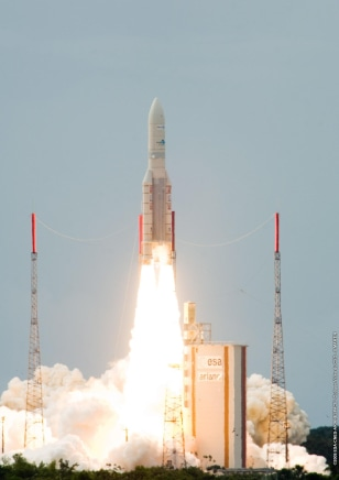 Image: Europe's Spaceport Ariane 5 ECA being launched into the sky