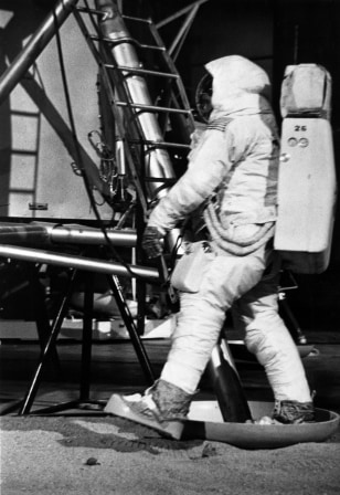 Image: Neil Armstrong practices moon step