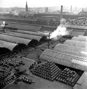 Image: A general view of a big Burton-on-Trent brewery, Ind Coope and Allsopp's, in 1953.