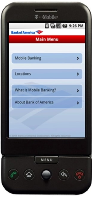 Image: Bank of America on Google Android phone