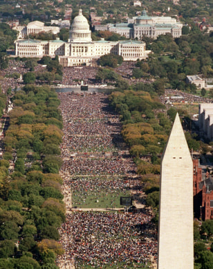 Image: Aerial view of the Capitol, Washington Monument