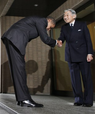 Image: Barack Obama and Japan Emperor Akihito