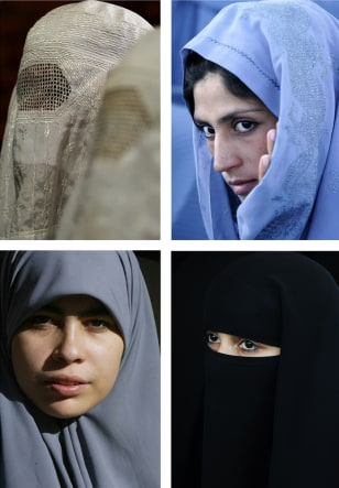 Image: Muslim women wearing various head coverings