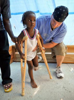 Women Leg Amputees On Crutches