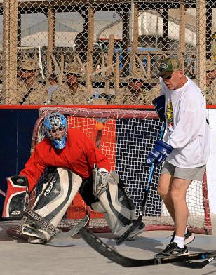 Image: Hockey game at Kandahar air base