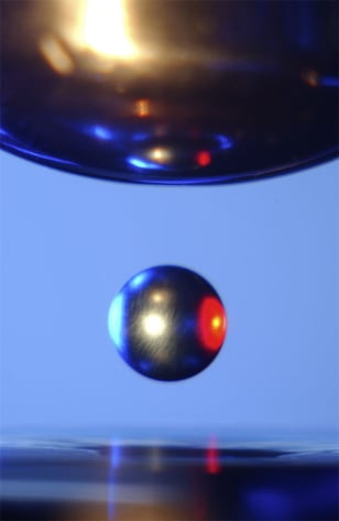 Image: Ball of metal suspended in mid-air