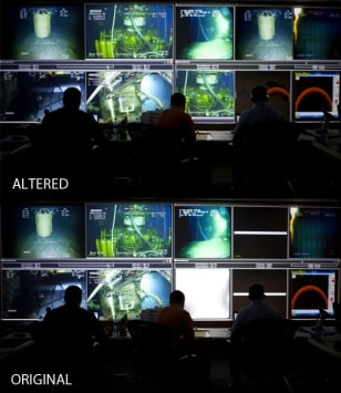 Image: Original and altered photos of a BP command center