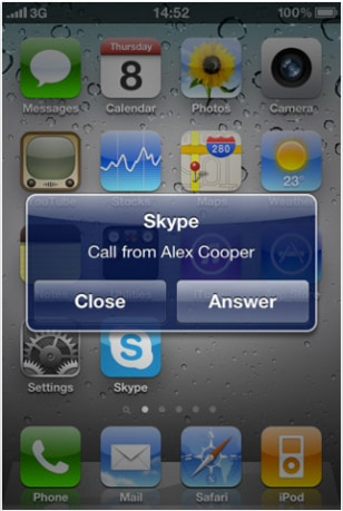 Image: iPhone screen shot with Skype pop-up incoming-call alert