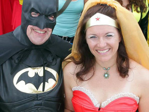 Image: Newlyweds Batman and Wonder Woman, also known as Neil Vaughan and Sharon Wetherell