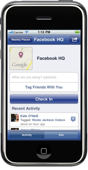 Image: Facebook's Places program for iPhone