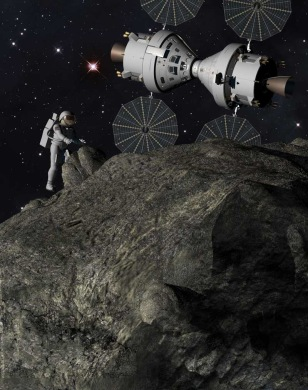 "Image: Artist's illustration, ""Plymouth Rock"" asteriod mission"