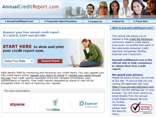 Image: AnnualCreditReport.com website