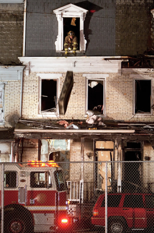 Image: Firefighters at the scene of the blaze in Harrisburg, Pennsylvania