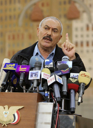 Image: Yemen's President Ali Abdullah Saleh addresses a news conference in Sanaa