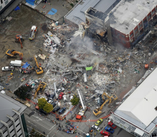 Image: Rescuers work at CTV building in Christchurch