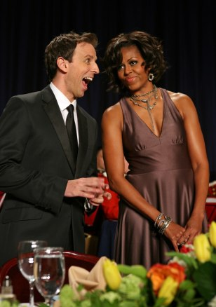 Image: Seth Myers and Michelle Obama
