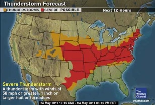 The Weather Channel Produced A Map Above Showing A Vast Area Of The U S Colored Red Indicating Areas Where Severe Thunderstorms Were Possible And An