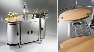 Image: Alpina's mobile beer bar includes a grilling surface and a kegerator.