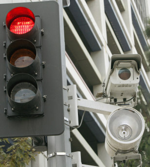 Image: A red light camera setup in Los Angeles
