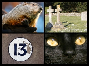 Image: Composite image of a groundhog, graveyard, black cat and the number 13