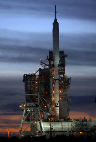 Image: Ares I-X test rocket sits on launch pad 39B at the Kennedy Space Center in Cape Canaveral