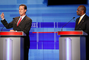 Image: Rick Santorum, Herman Cain