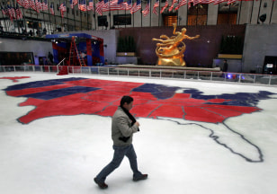 Image: The ice skating rink in New York's Rockefeller Center shows the results of Tuesday's presidential election