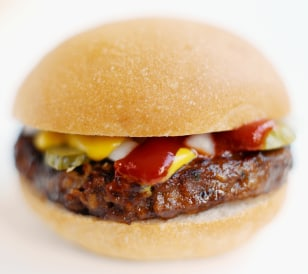 Image: hamburger with mustard and ketchup
