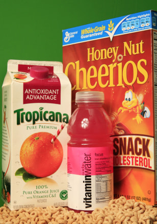 Image: Tropicana orange juice, Honey Nut Cheerios and VitaminWater