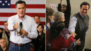 Image: Mitt Romney and Rick Santorum