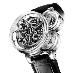 Image: The Harry Winston Opus Eleven watch features three cylinders that 'deconstruct' time and reassemble it on every hour using a complex set of gears.