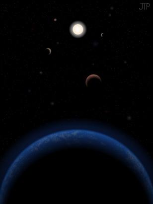 Image: Artist's impression of five possible planets orbiting the star Tau Ceti, which is just 11.9 light-years from Earth.