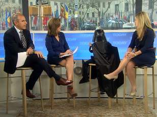As Darth Vader, Max Page seemingly used the Force to open the Studio 1A window as Matt Lauer, Meredith Vieira and his mom, Jennifer Page, looked on.
