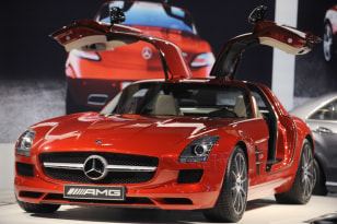 Image: The Mercedes-Benz SLS is on display at the L.A. Auto show in Los Angeles