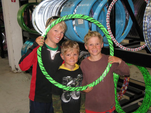 Image: The McFerrin boys in a bike shop