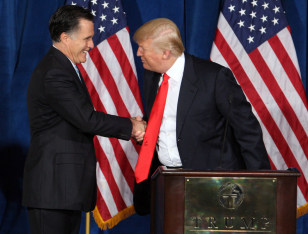 Image: Republican presidential candidate and former Massachusetts Governor Mitt Romney is endorsed by Donald Trump in Las Vegas