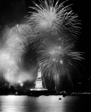 Bicentennial Fireworks Over Statue Of Liberty