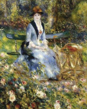 Renoir painting of woman seated in garden.