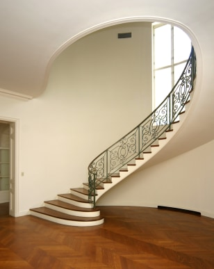 Staircase in New Canaan home