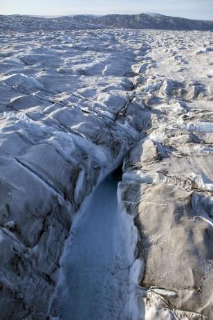 Image: Meltwater ravine at glacier