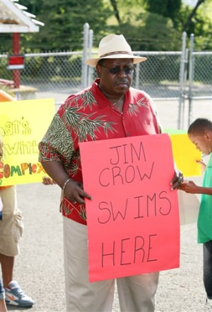 Image: Demonstrator at swim club