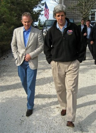 IMAGE: Sen. John Kerry, D-Mass. and former British Prime Minister Tony Blair