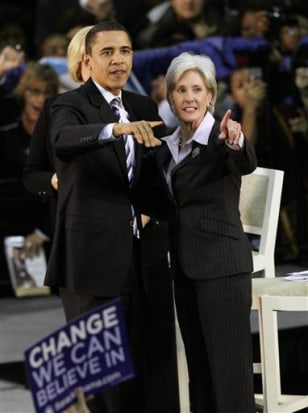 Image: Barack Obama, left, and Kansas Gov. Kathleen Sebelius