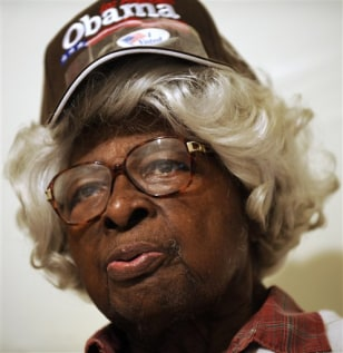 Image: Pattie H. Brew, 97, Obama supporter