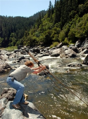 Image: Traditional fishing method in Klamath River