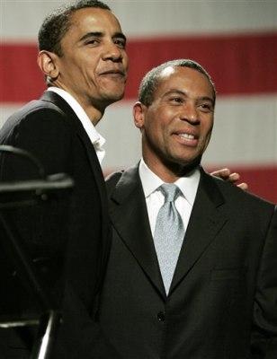 Sen. Barack Obama, D-Ill. and Gov.Deval Patrick, D-Mass.