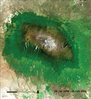 IMAGE: SATELLITE VIEW OF KILIMANJARO GLACIERS