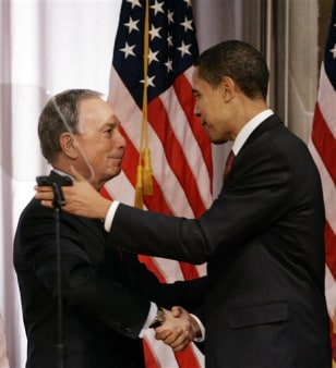 IMAGE: New York Mayor Michael Bloomberg and Sen. Barack Obama, D-Ill.